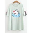 Cute Cartoon Sleeping Rooster Chicken Print Bow Sleeve Loose Summer Tee