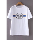 Simple Letter Graphic Pattern Round Neck Short Sleeves Casual Tee
