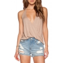 Sexy Halter Plain Loose Hollow Out Back Sleeveless Cami