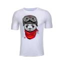 Cute Soldier Panda Printed Round Neck Short Sleeve Leisure Tee