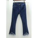 Chic Basic Fringe Hem Leisure Plain Zipper Fly Flare Jeans