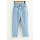 Retro Simple Plain Asymmetric Hem Loose Zipper Fly Jeans
