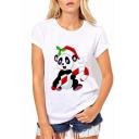 Fashionable Panda Christmas Theme Print Round Neck Short Sleeves Summer T-shirt