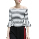 Basic Striped Printed Off The Shoulder 3/4 Length Sleeve Cropped Tee