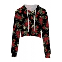New Fashion Digital Floral Printed Long Sleeve Crop Hoodie