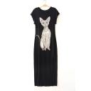Comfort Cat Printed Round Neck Short Sleeve Loose Maxi Shift Dress