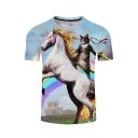 Digital Cat Unicorn Print Round Neck Short Sleeves Summer T-shirt