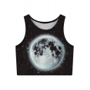 Women's Fashion Moon Galaxy Print Round Neck Sleeveless Summer Cropped Tank