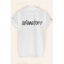 ARIANATOR Letter Heart Printed Round Neck Short Sleeve Tee
