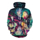 Digital Cartoon Character Gun Printed Leisure Long Sleeve Hoodie