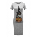 Pumpkin Cat Printed Round Neck Short Sleeve Slim Midi T-Shirt Dress