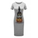 Pumpkin Cat Printed Round Neck Short Sleeve Slim Midi T-Shirt Dress
