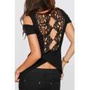 Sexy Hollow Out Lace Panel Back Cold Shoulder Wrap Back Scoop Neck Tee