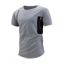 Zipper Detail Round Neck Short Sleeves Color Block Summer Men's T-shirt