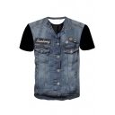 Cool Stylish Faux Denim Vest Print Round Neck Short Sleeves Casual Tee