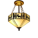 2/5-Light Semi-Flush Ceiling Light Loft Lamp with Deer Pattern, Tiffany Art Glass, Aged Brass