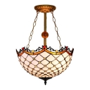 Simple Tiffany Style Semi Flush Mount with Classic Art Glass Shade in 16