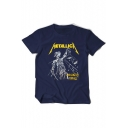 METALLICA Letter Character Printed Round Neck Short Sleeve Tee