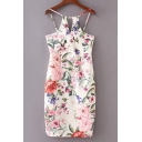 Floral Printed Spaghetti Straps Sleeveless Key Hole Front Midi Cami Dress