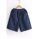 Basic Leisure Elastic Waist Fringe Hem Plain Loose Denim Shorts