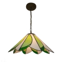 Geometric Pendant Light  Antique Art Glass Shade, White & Green in Tiffny Style