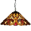 Tiffany Style Victorian 2-Light Pendant Light with Conical Glass Shade, Colorful, 16-Inch Wide