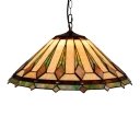 Vintage 22''W Tiffany-Style Pendant Light with Cone Shaped Glass Shade, Multi-Colored, Three Light