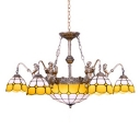 Traditional Tiffany Style 6 Arms Belle Support Yellow&White Chandelier with Inverted Hanging Pendant