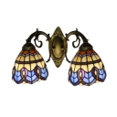 Vintage Tiffany Style 2-Light Wall Sconce with Blue Glass Shade in Baroque Design