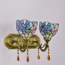Hummingbird Floral Theme Antique Brass Finish Tiffany Glass Shade Wall Sconce, 2 Light, Multicolored