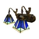 16-Inch Wide Mediterranean Tiffany Style Belle Supported Stained Glass Wall Sconce, 2 Light