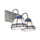 Simple 14-Inch Wide Tiffany-Style Inverted 2-Light Wall Sconce with Blue&White Cone Shade