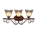 Pink Lotus Tiffany Style Jewel 3-Light Downlighting Hallway Sconce