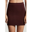Plain Elastic Waist Cut Out Side Mini Bodycon Skirt