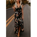 Plunge Neck Short Sleeve Floral Printed Hollow Out Back Maxi Asymmetric Hem Dress