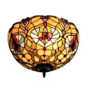 Victorian Tiffany Style Flush Mount Lamp with Colorful Stained Glass, 2-Light 16