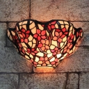 Red Rose and Leaves Tiffany Sconce with Stained Glass Shade,12