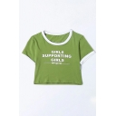GIRLS SUPPORTING GIRLS Letter Printed Contrast Trim Short Sleeve Crop Tee