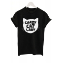 CRAZY CAT LADY Letter Print Short Sleeve Tee
