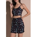 New Arrival Butterfly Letter Print Sleeveless Cropped Cami with Mini Skirt