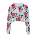 Hot Popular Watermelon Printed Long Sleeve Crop Leisure Hoodie