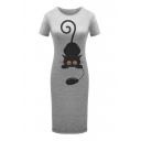Cat Mouse Printed Round Neck Short Sleeve Leisure Slim Midi T-Shirt Dress