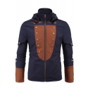 Men's Fashion Color Block Zip Up Button Detail Hooded Jacket