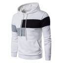 Fashionable Color Block Long Sleeves Pullover Hoodie with Pocket