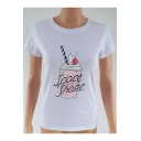 Ice Cream Letter Printed Round Neck Short Sleeve Tee