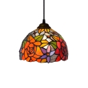 Colorful Dome Glass Shade Pendant Light with Floral Theme, 8