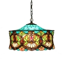 Tiffany Chandelier Baroque with Colorful Stained Glass