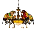 Parrot Tiffany Chandeliers 6 Heads Stained Glass LED Ceiling Fixtures Pendant Lamp