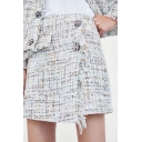 Double Floral Buttons Printed Asymmetric Hem Mini A-Line Tweed Skirt