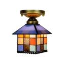 Multicolored Tiffany Flush Mount Ceiling Light in Lodge Style with Exquisite Glass Shade